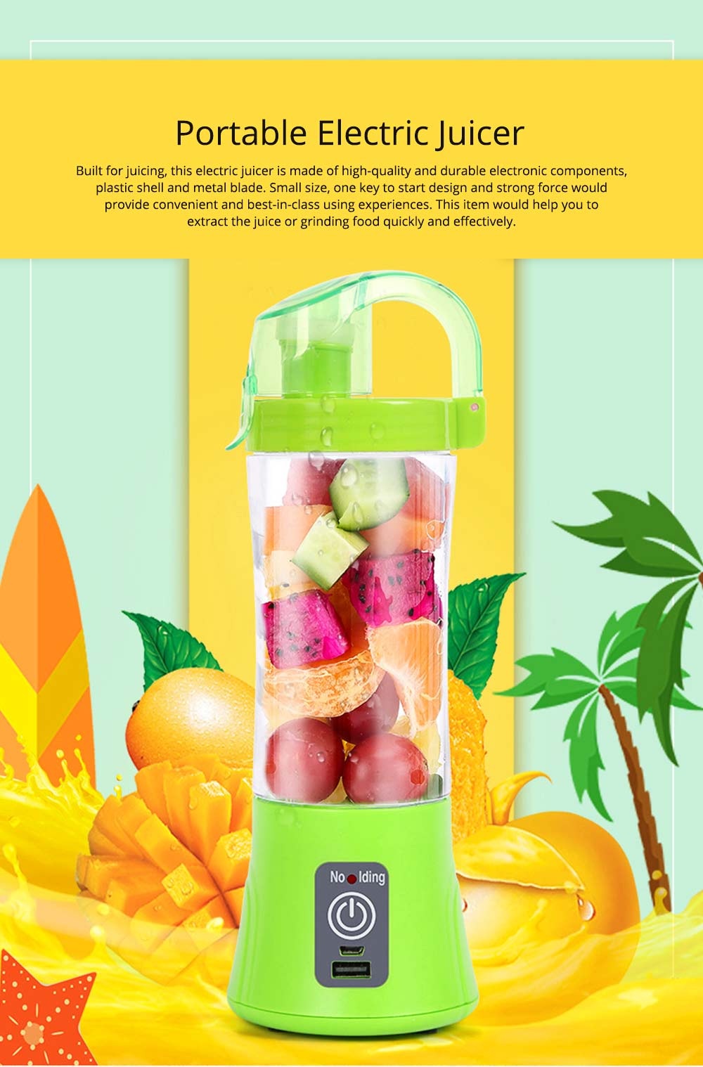 Portable Handy Household Electric Juicer, Multifunctional Juice Extractor Kitchen Tools with Power Bank Function 0