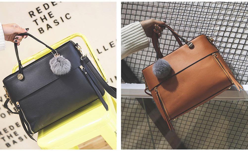 Lady Handbag PU Fashion Simple Hand Big Bag Shoulder Messenger For Women Middle-aged Mother 10