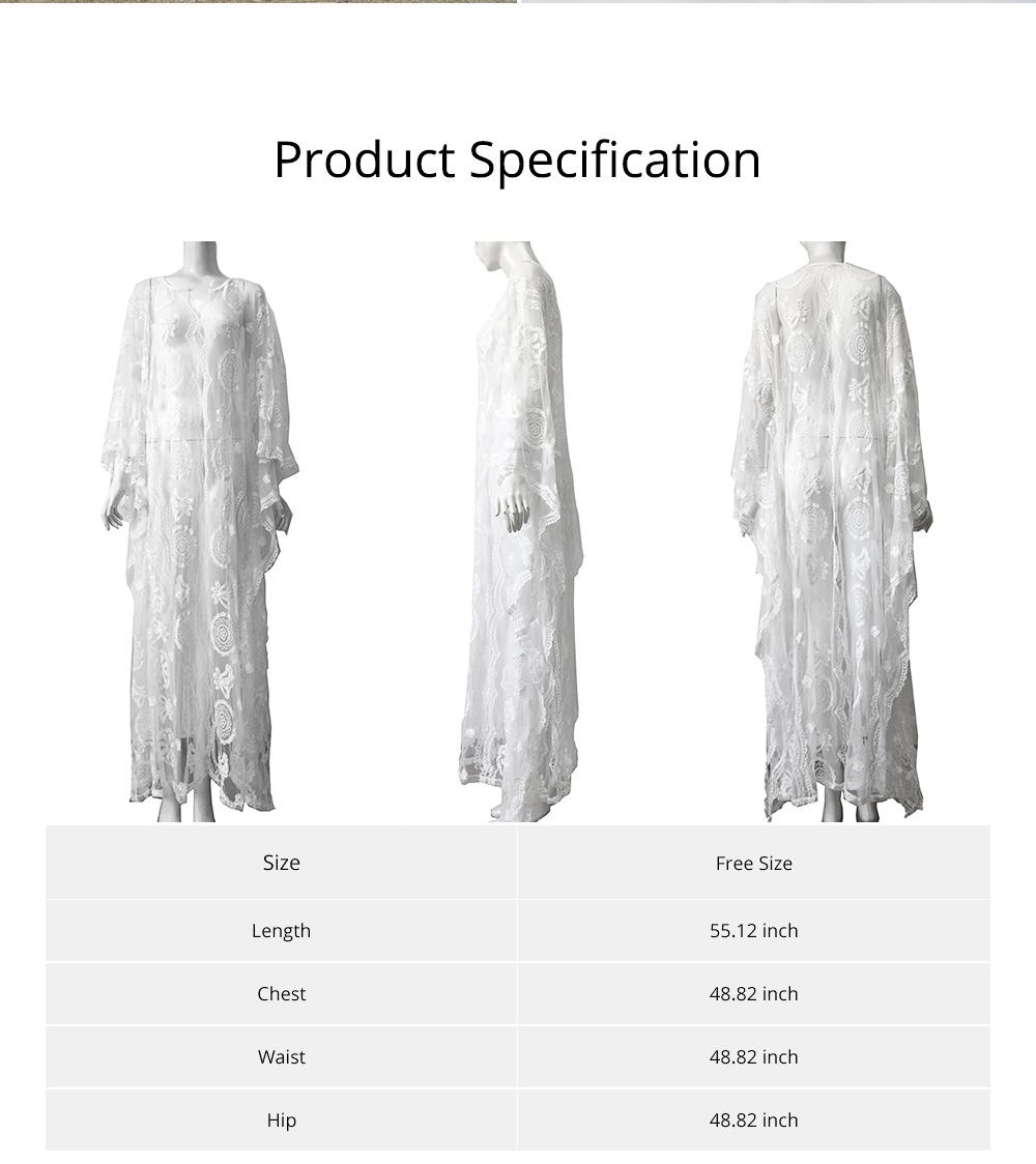 Delicate Fancy Crochet Hollow Lace Grenadine Long Dress, Sexy Fashion Flower Model Ladies Breach Evening Dress 6