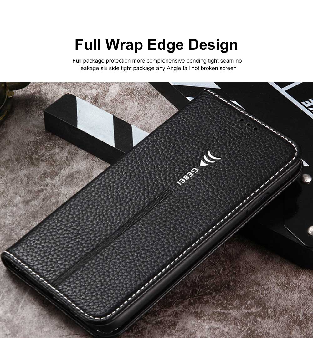 Wear-resistant Leather Crash-resistant Phone Shell with Soft Shell Edge Designed with Support Function & Card Slot for iphone 5 5s 5SE, 6 6S 7 8 Plus, X XS XR 3