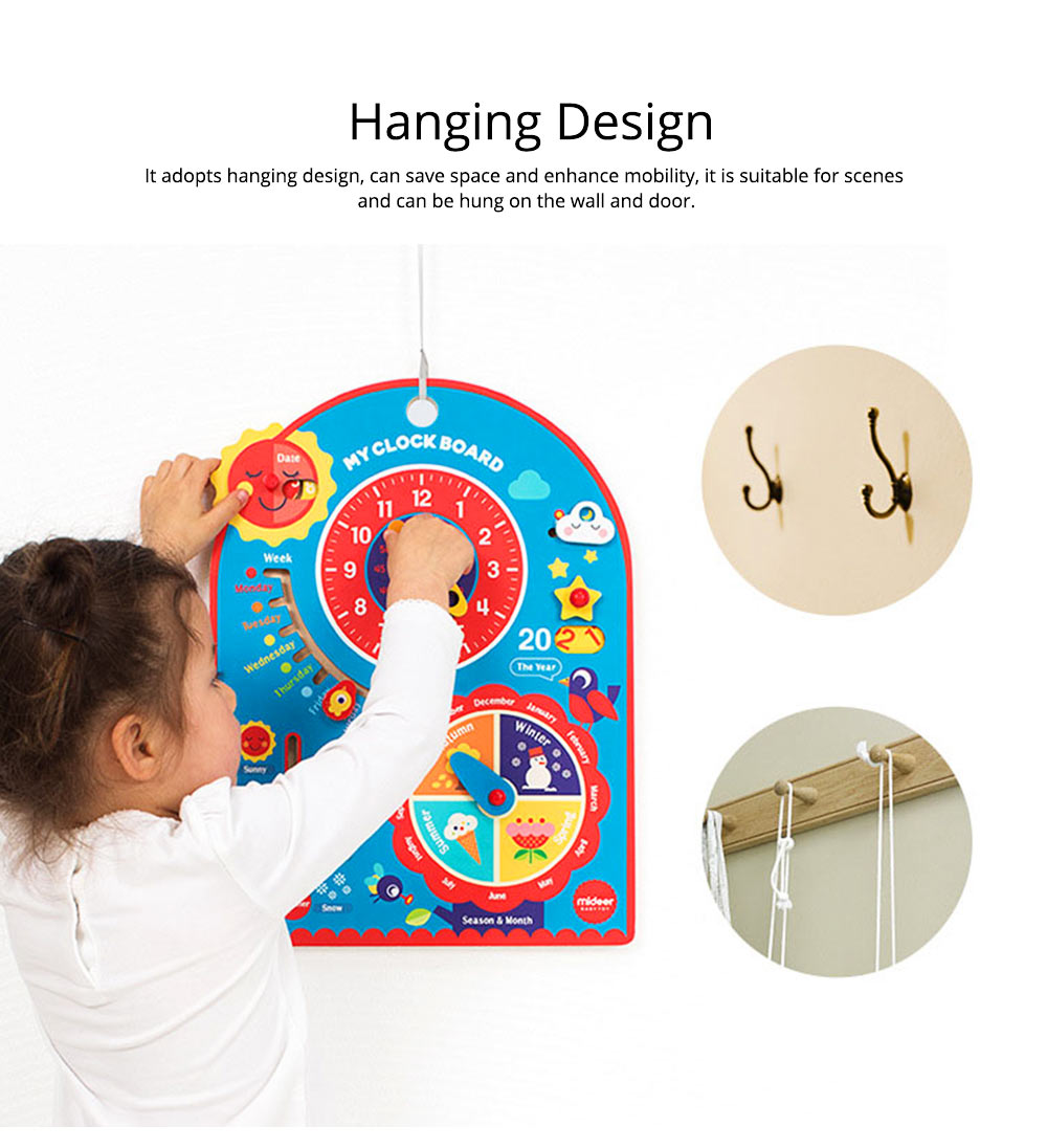 Calendar Wooden Clock Puzzle Hanging Board Multifunctional Daily Learning Digital Season Cognitive Children Toys for 3 to 6 years kids 3