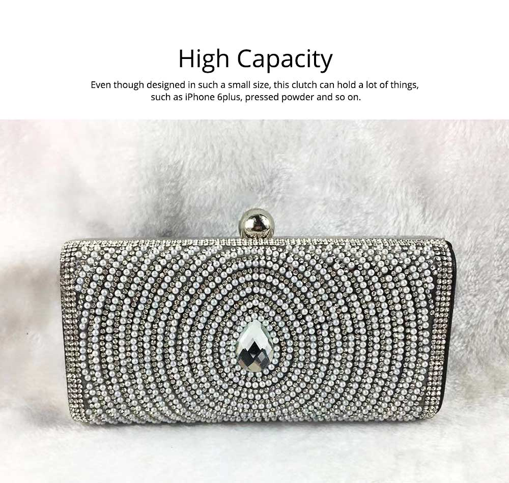 2019 Clutch Bags for Women Elegant Evening Handbag with Crystal and Pearl Decoration, Fashionable Easy Matching Clutch for Dinner Parties 2