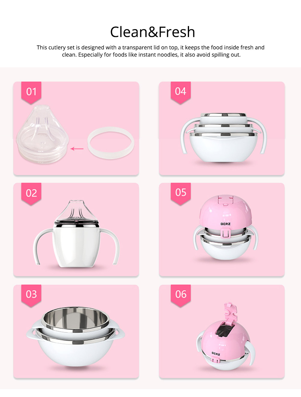 Lovely Cartoon 304 Stainless Steel Tableware for Kids, 5 in 1 Portable Cute Superior Food safe Material Spoon, Fork and Bowl 4