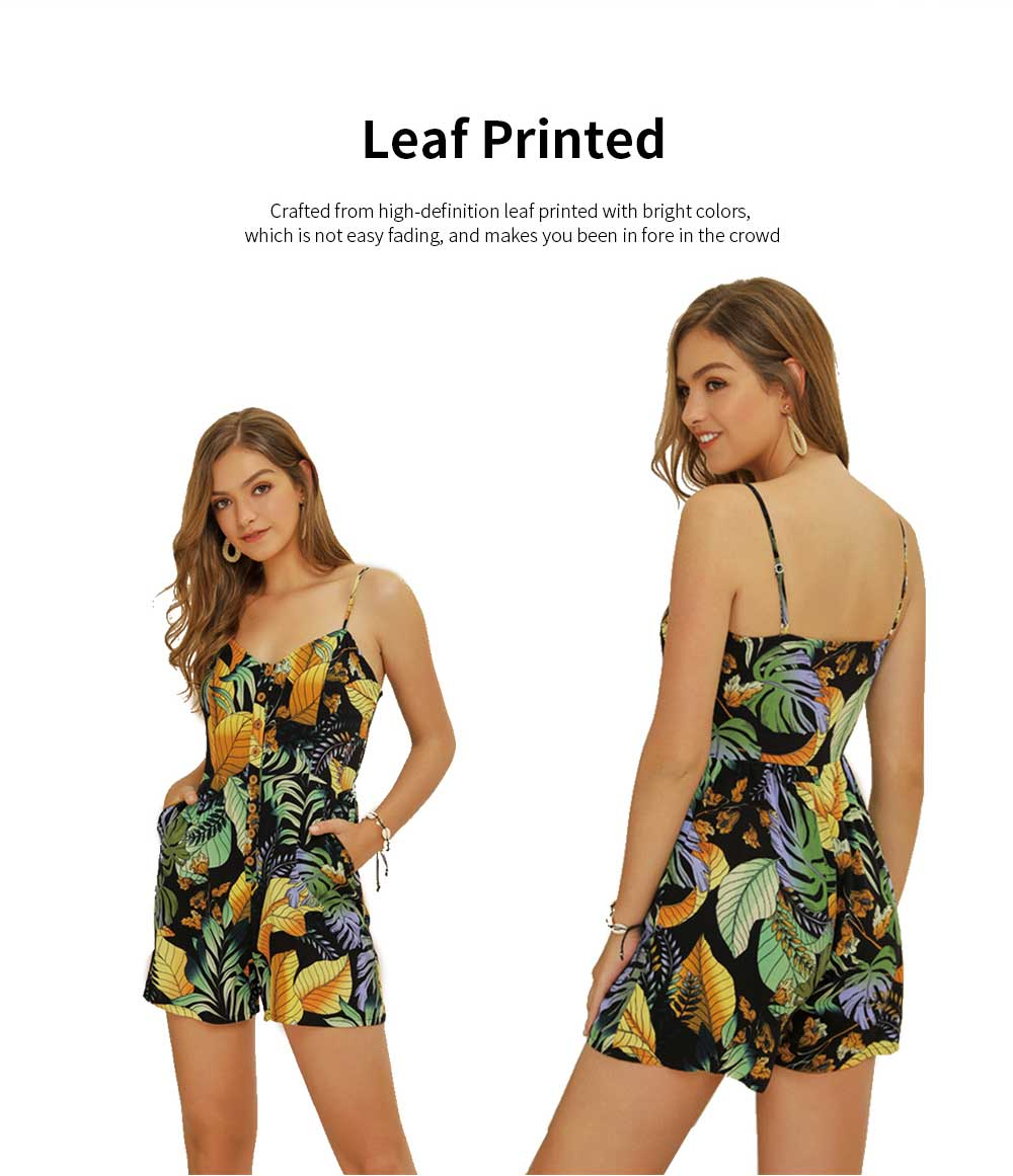Women Leaf Printed Rompers with Single-breasted, Summer Lady Floral Printed Jumpsuit for Beach, Holiday, Traveling Sexy Jumpsuit Romper S, M, L, XL, XXL 2