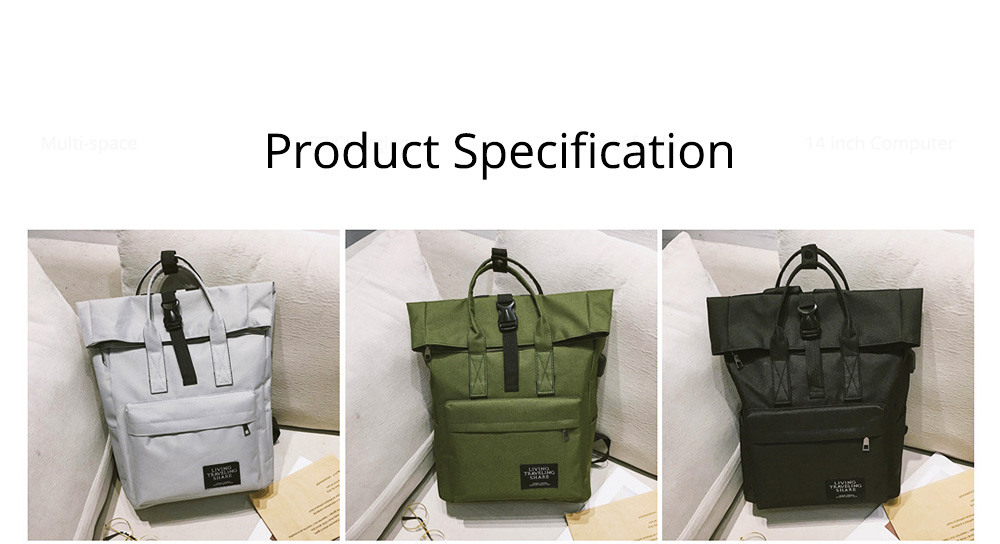 Minimalist Unisex Large Capacity Backpack with USB Charging Port, Waterproof Wearable Oxford Cloth Student Adult Shoulder Bag 9