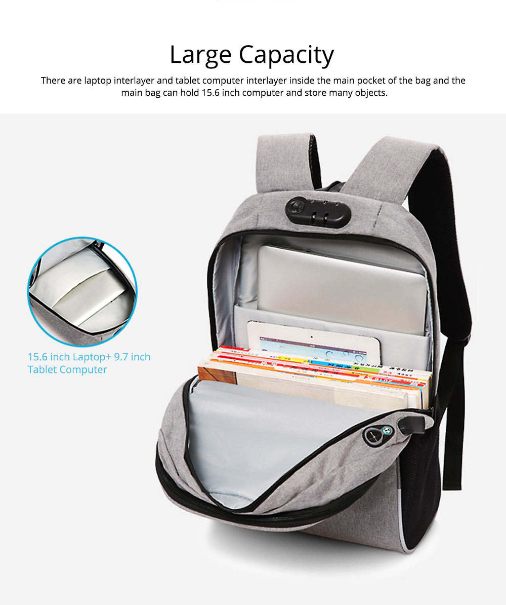 Multifunctional Minimalist Water-proof Student Backpack, Outdoors Travel Shoulder Bag with USB Charging Port Earphone Hole 3