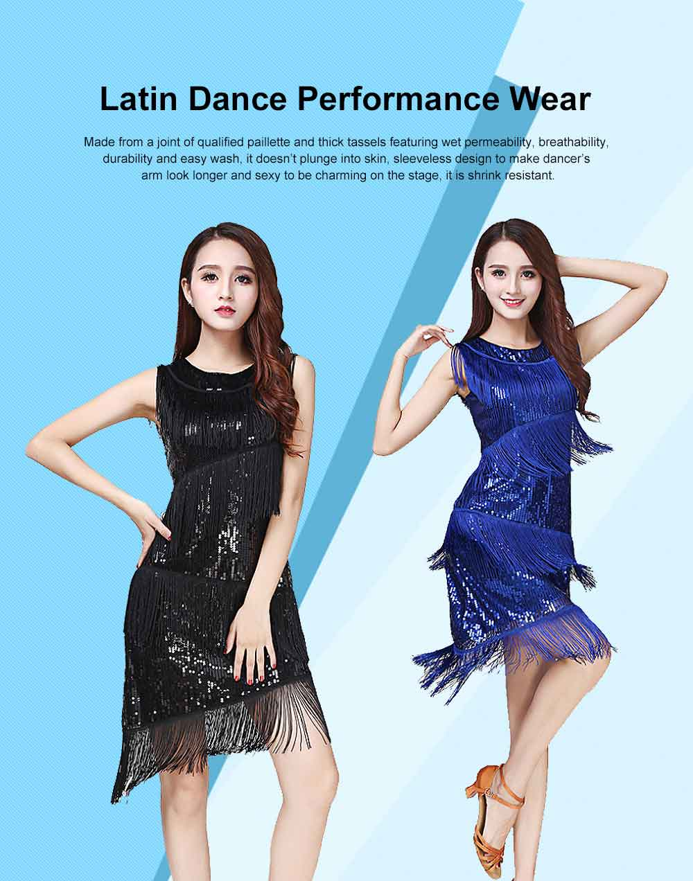 Latin Dance Performance Wear with Paillette Tassels Accessory, Dancing Party Performance Costume,  Sleeveless Latin Skirt Formal Wear for Latin Dance Competition 0