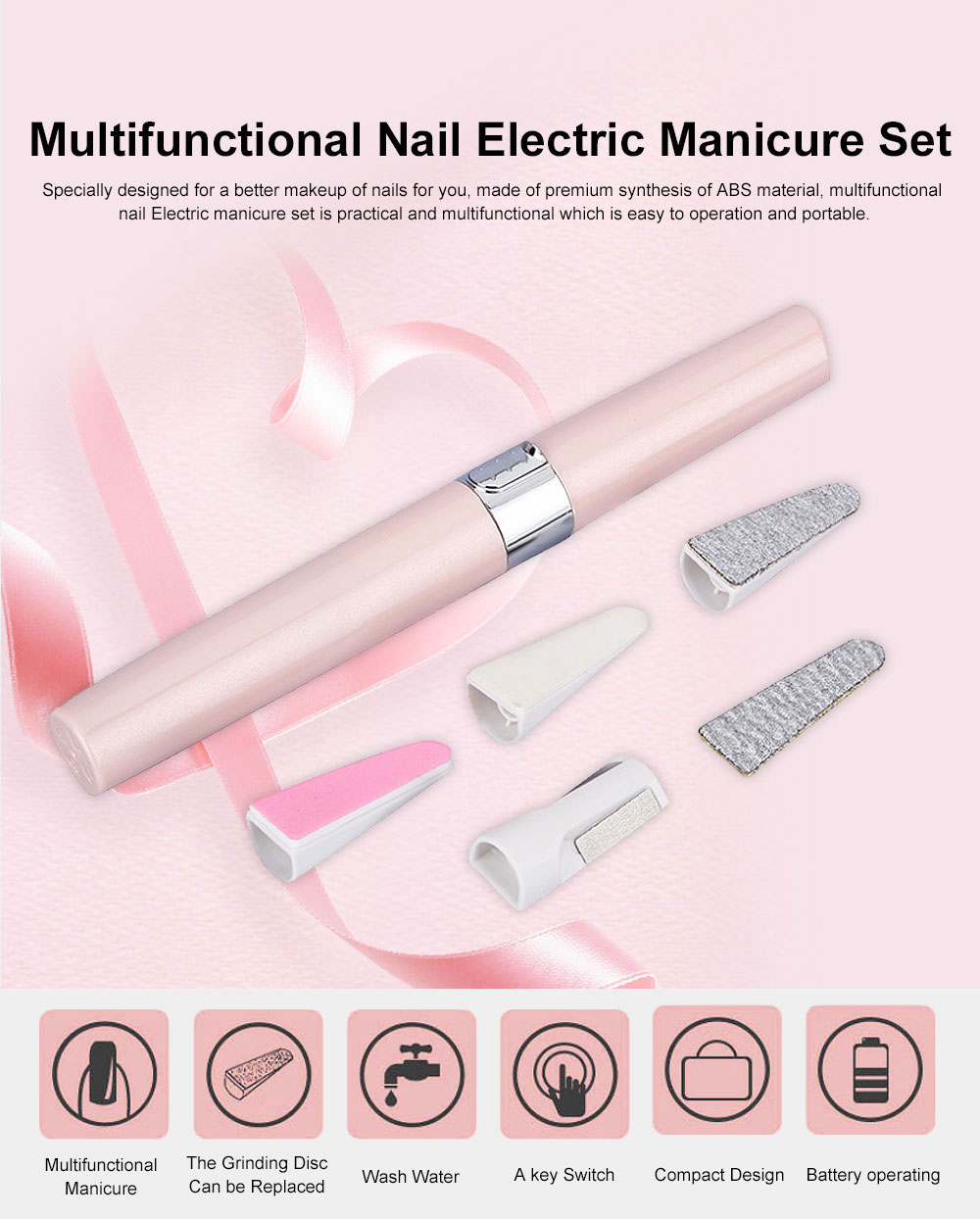 Small & Delicate Pen Type Multifunctional Nail Electric Manicure Set Used for Manicure Nails Polishing 0