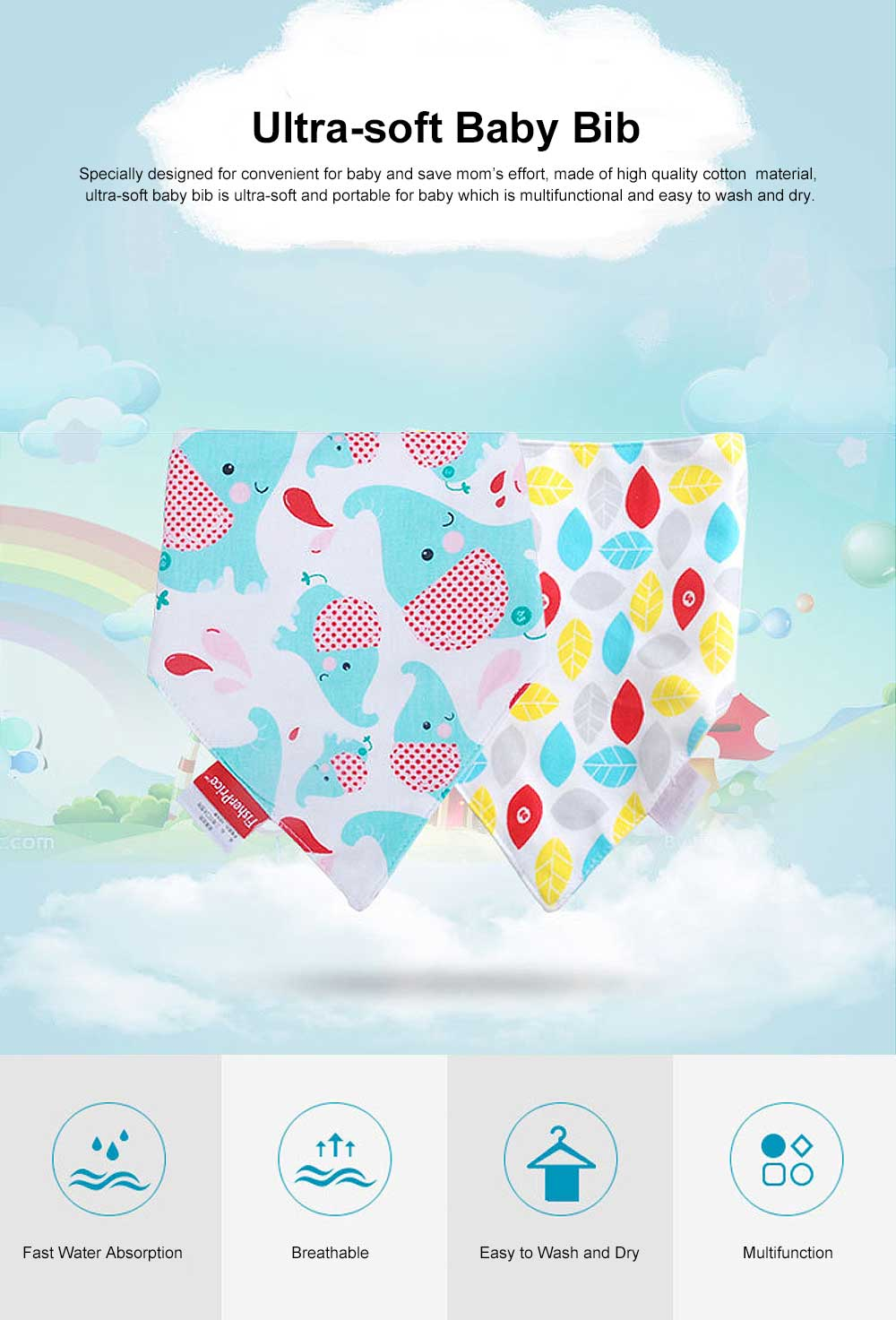 Ultra-soft Baby Bib & Cotton Super Soft Triangle Towel with Double Layer, Thickened, Double Buckle Design 0