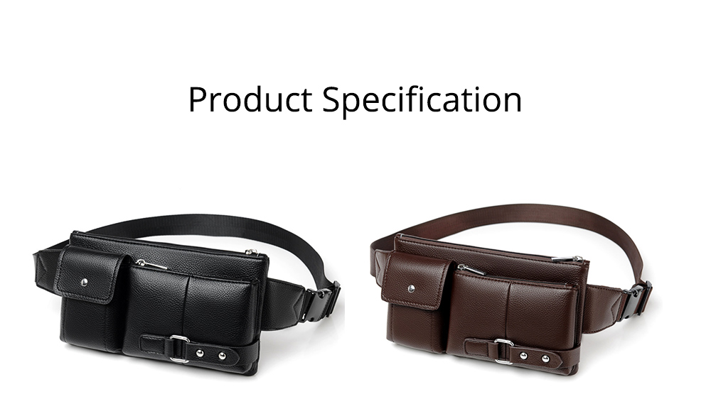 Minimalist Soft PU Leather Functional Men Waist Bag, Business Outdoors Sport Waist Shoulder Bag Wallet 9