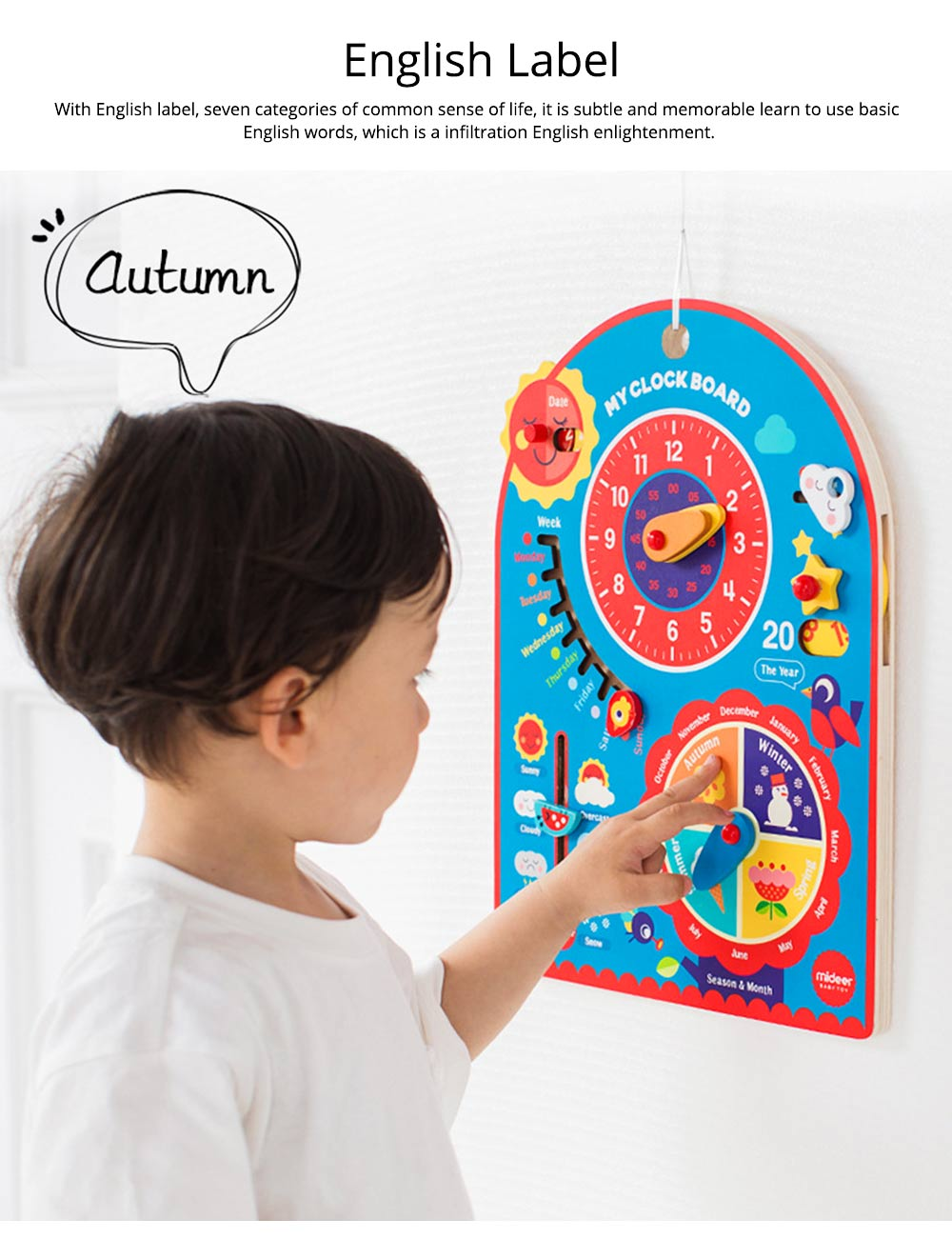 Calendar Wooden Clock Puzzle Hanging Board Multifunctional Daily Learning Digital Season Cognitive Children Toys for 3 to 6 years kids 1