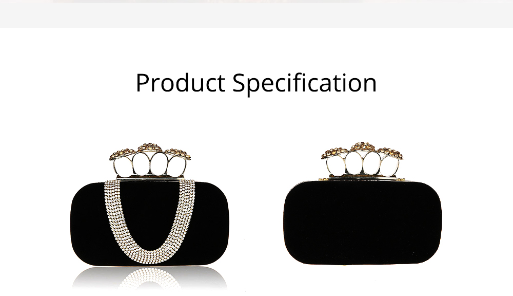 Korean Style Fashionable Velvet Evening Handbag, Superior Easy Matching Clutch Bag with Crystal for Dinner Party, Cocktail Prom 6