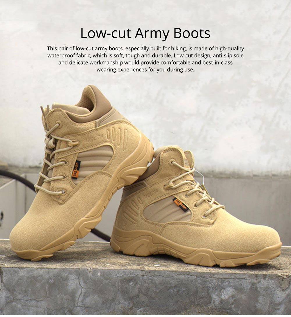 Unisex Comfortable Outdoors Low-cut Army Boots, Waterproof Breathable Combat Tactical Hiking Desert Shoes for Women Men 0