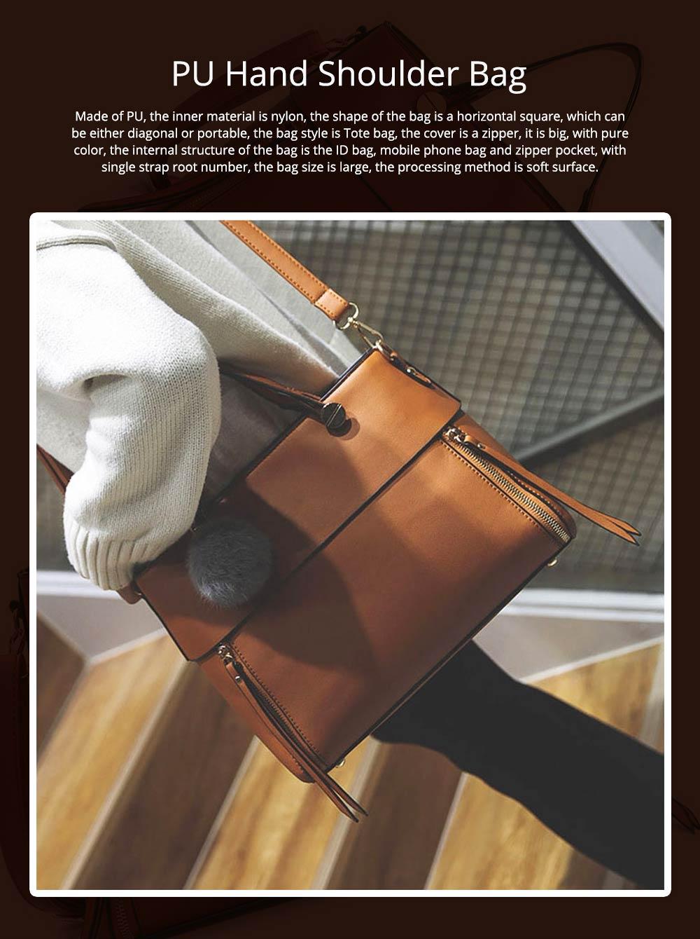 Lady Handbag PU Fashion Simple Hand Big Bag Shoulder Messenger For Women Middle-aged Mother 0
