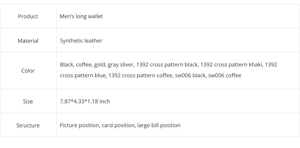 Baellerry Long Wallet for Men PU Leather Large Capacity Zipper Multiple Card Position Change Bag Handbag 9
