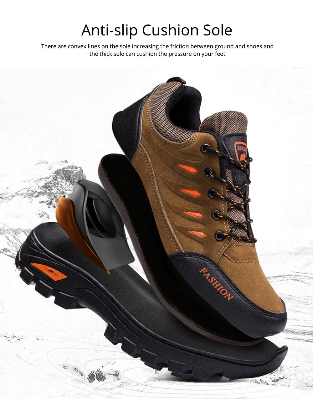 Outdoors Casual Traveling Men Hiking Shoes, Wearable Anti-slip Walking Trekking Sneakers for Men 3
