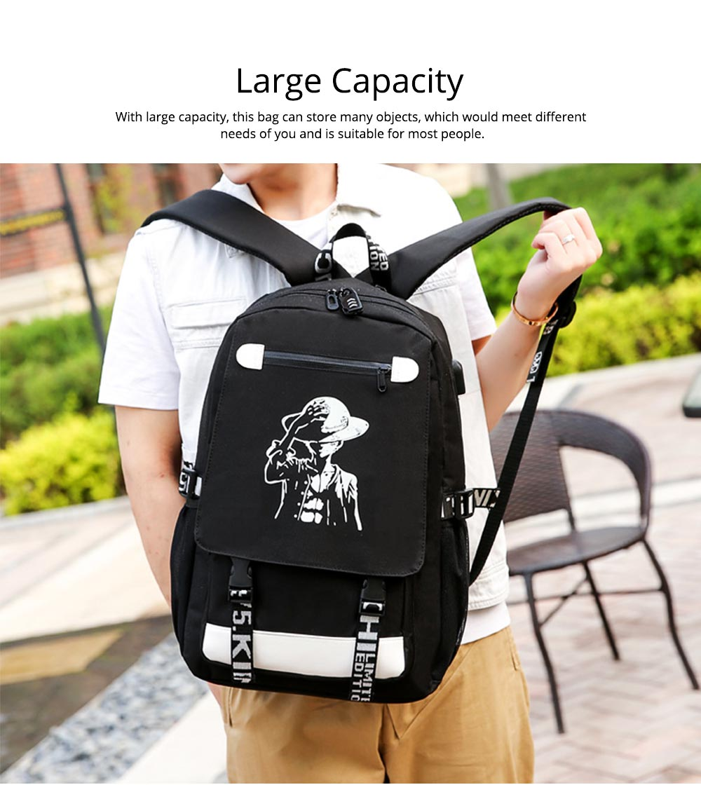 Stylish Luminous Carton Painting Casual Backpack, Soft Canvas Oxford Cloth Outdoors Student Shoulder Bag 10