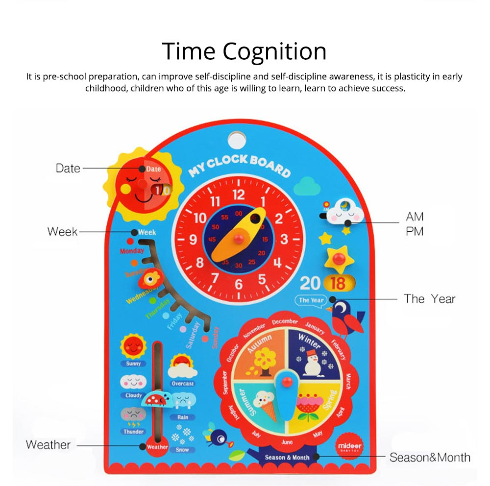 Calendar Wooden Clock Puzzle Hanging Board Multifunctional Daily Learning Digital Season Cognitive Children Toys for 3 to 6 years kids 7
