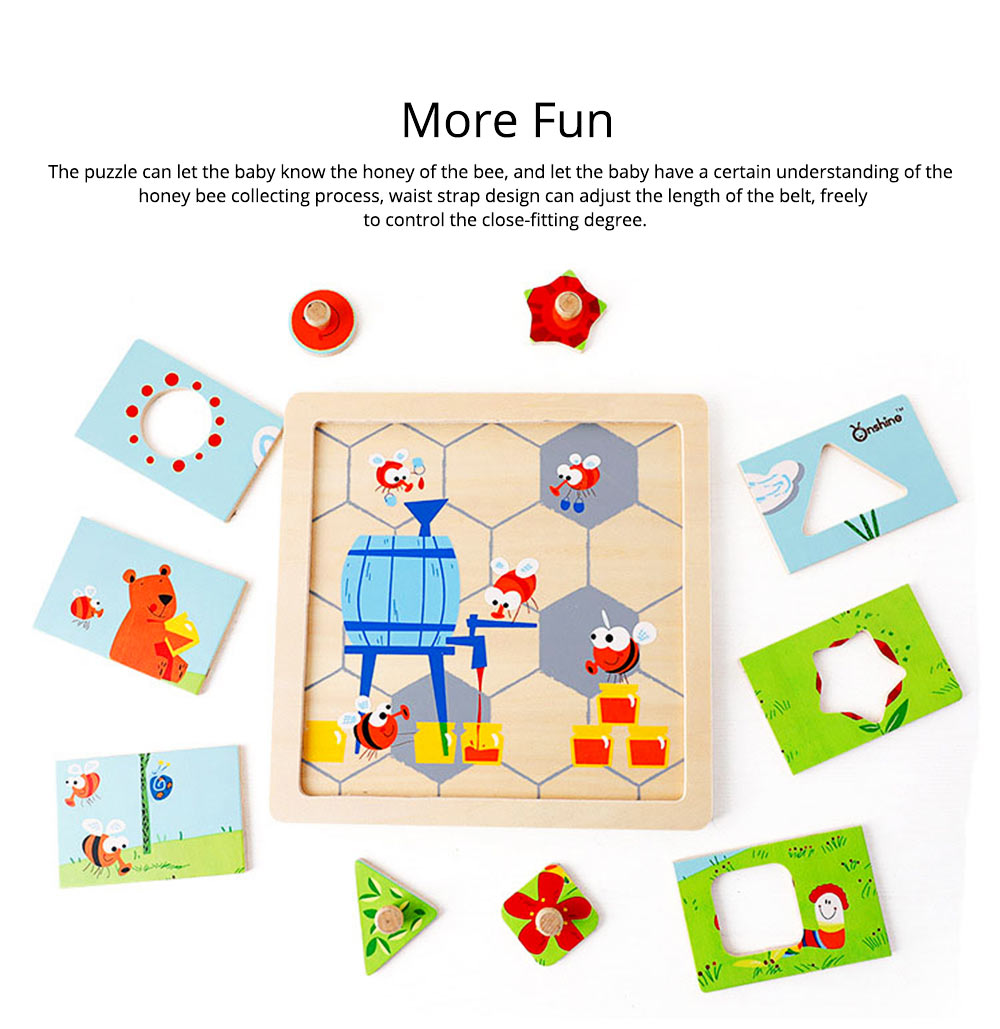 Children Puzzle Intelligence Cartoon Wood Learning Educational Jigsaw Puzzle Bee Honeymoon Baby Jigsaw puzzle For Kids Over 3 Years 4
