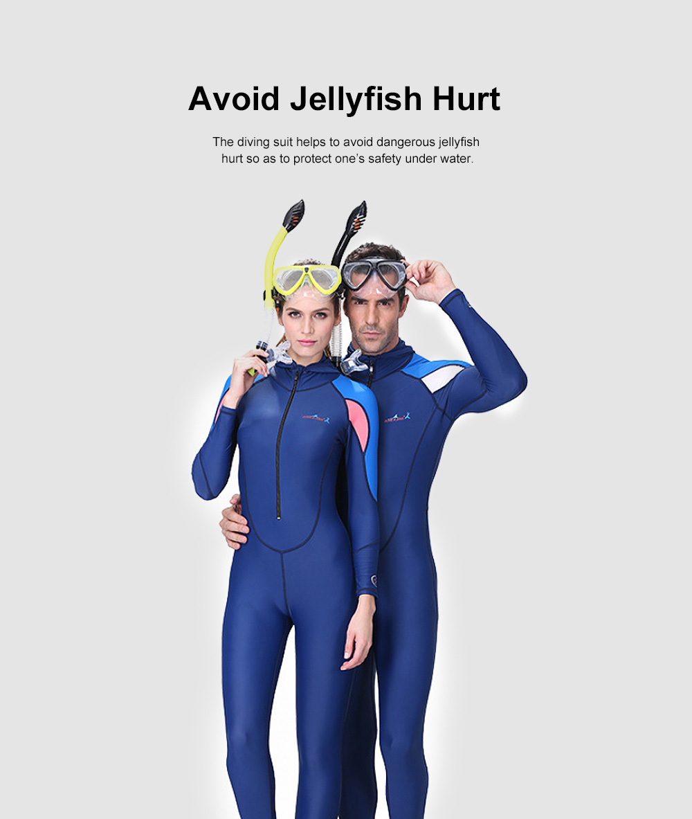 One-piece Unisex Diving Suit, Multifunctional One-piece Sunblock Diving Dress, Surfing Swimsuit Snorkeling Swimwear of Jellyfish Prevention Bathing Suit Blue 4