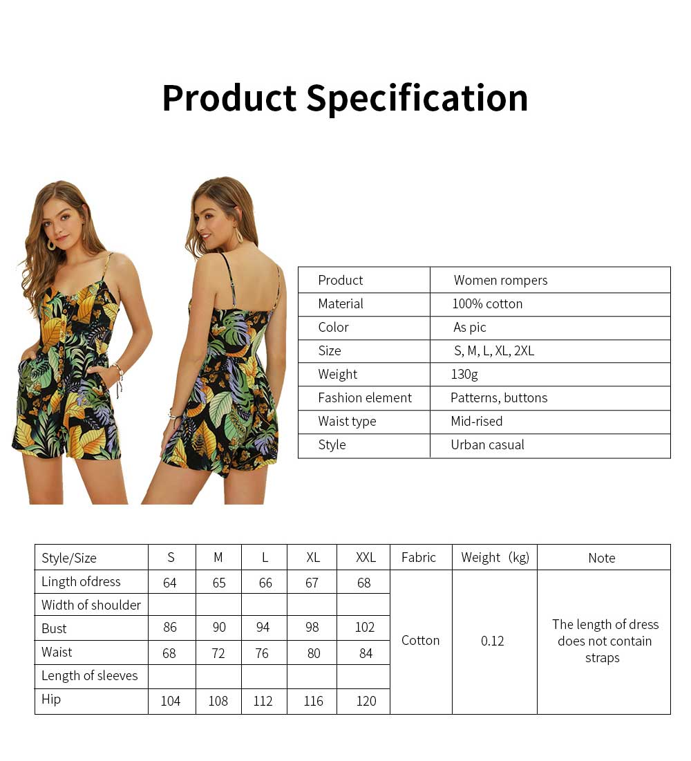 Women Leaf Printed Rompers with Single-breasted, Summer Lady Floral Printed Jumpsuit for Beach, Holiday, Traveling Sexy Jumpsuit Romper S, M, L, XL, XXL 6