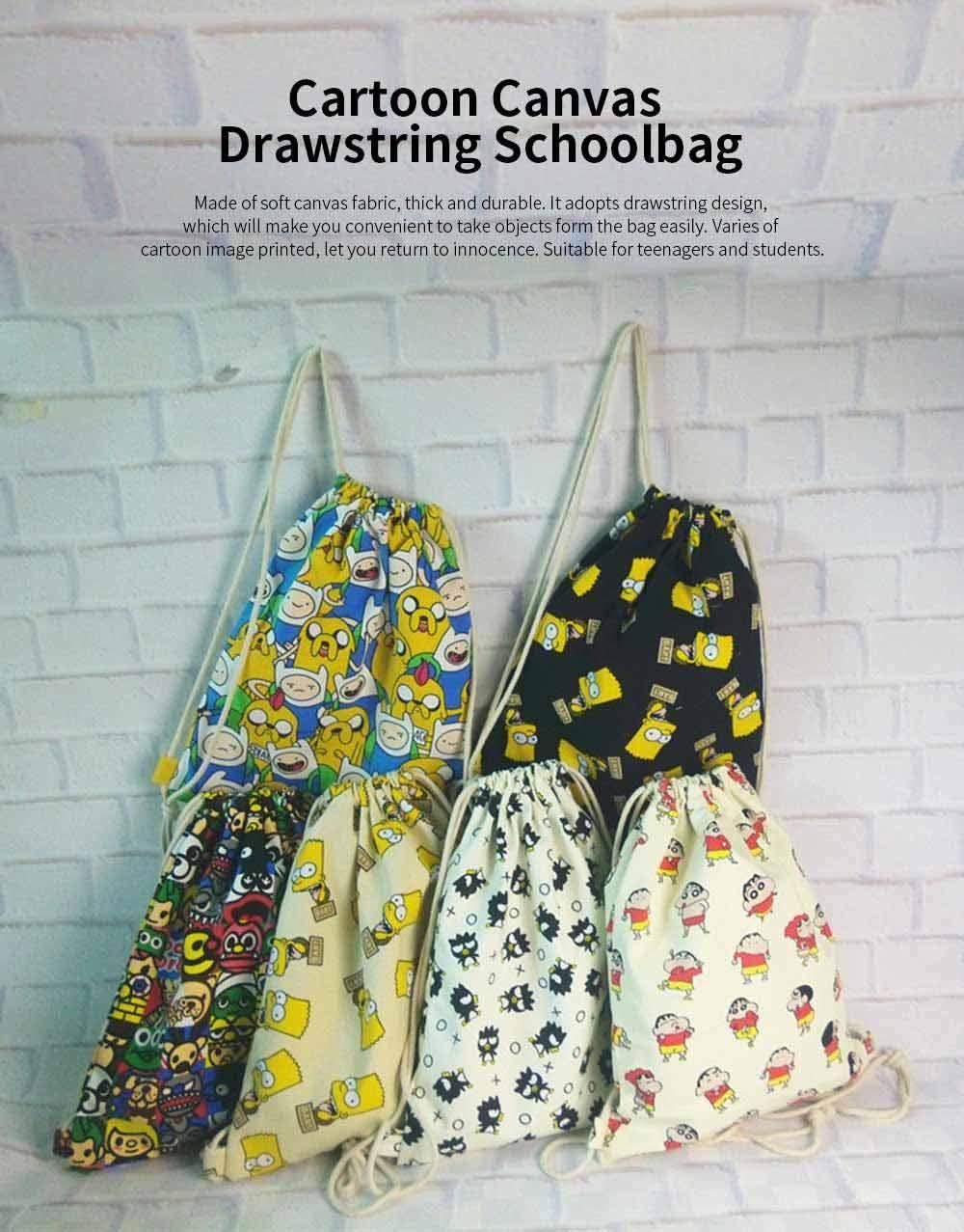 Cartoon Canvas Drawstring Schoolbag, Cactus Pattern Canvas Bundle Pocket for Students 0