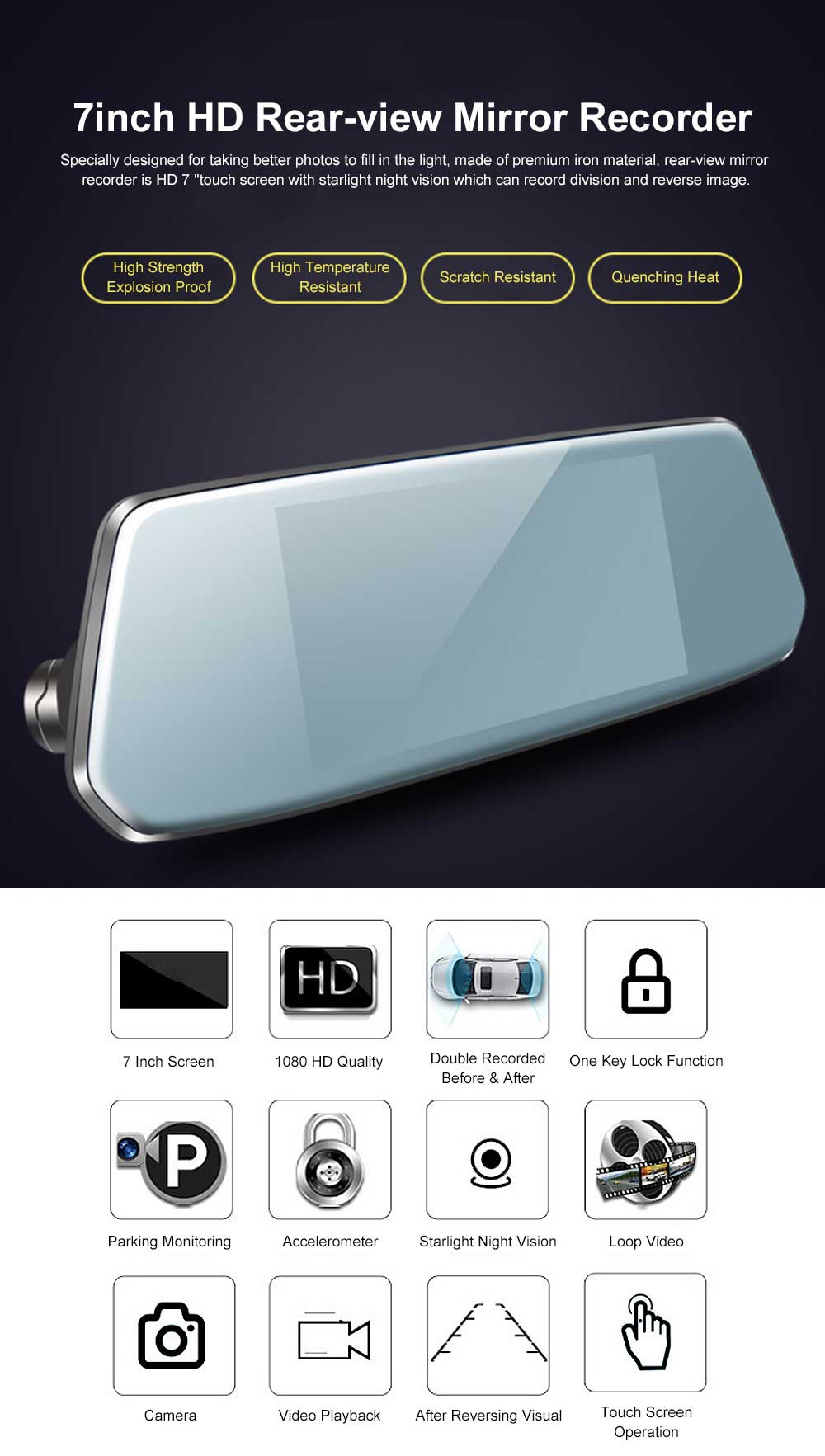7 inch IPS Rear-view Mirror Recorder Equipped with Touch Function of 1080P High-definition Dual Recording 0