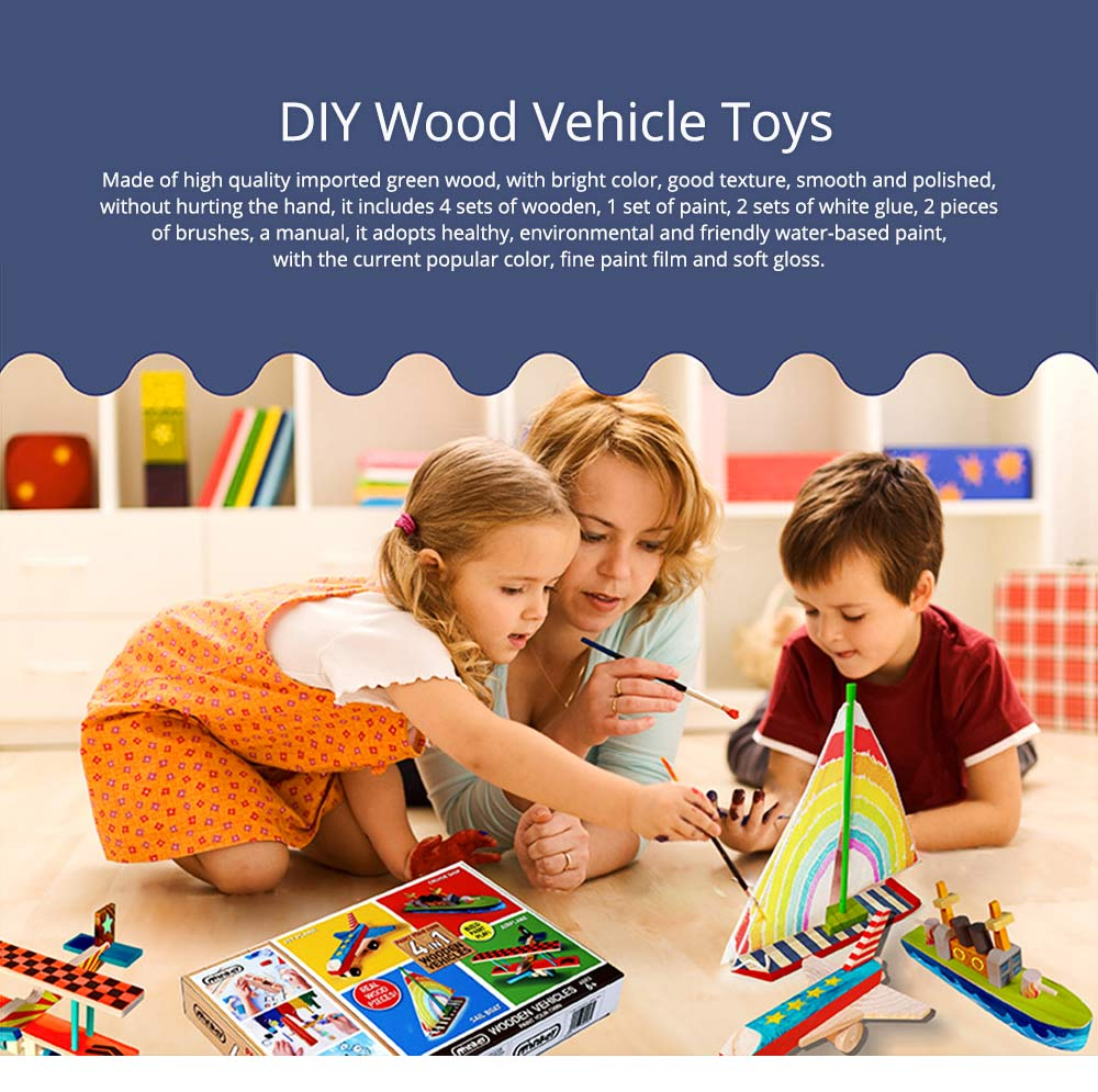4 in 1 DIY Wood Education Plane Boat Tank Vehicle Model Set, Creative Assembled Male And Female Puzzle Graffiti Toys for Kids 0