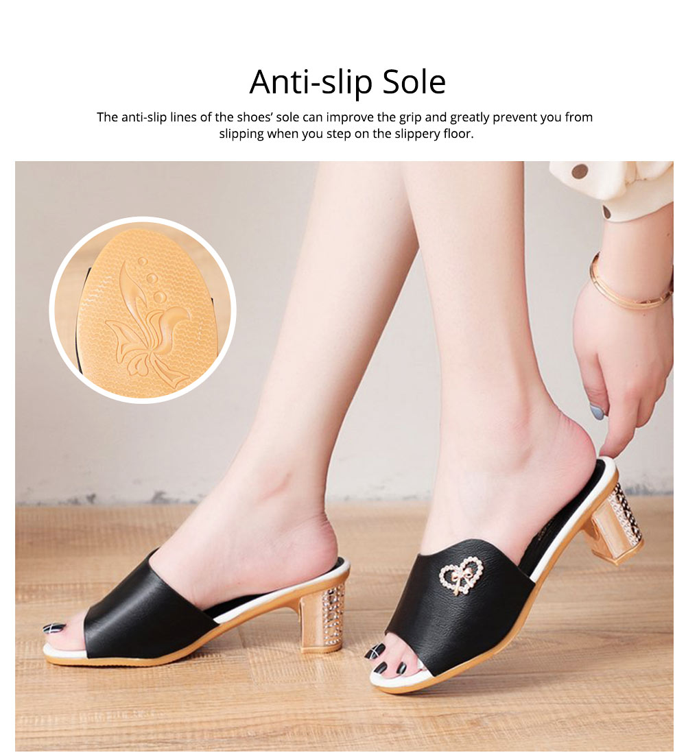Minimalist Elegant Rhinestone Decoration High-heeled Sandals, Comfortable Skin-friendly PU Leather Chunky Heels Sandals Outdoors 3