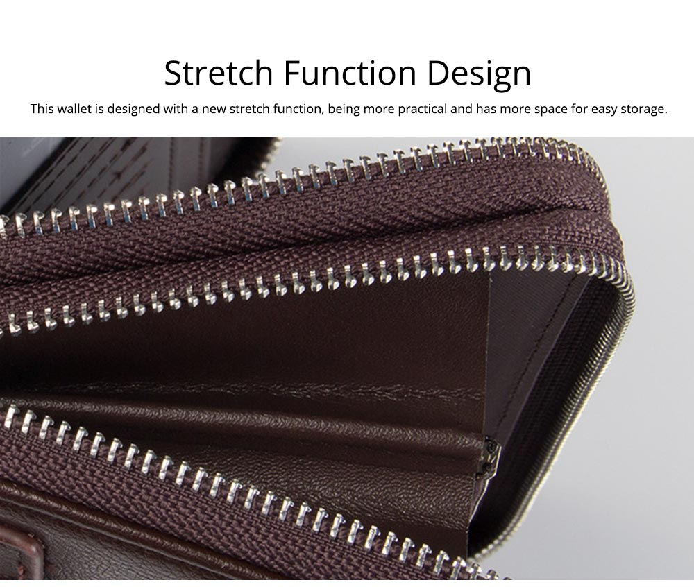 Large Capacity PU Leather Clutch Bag Wallet for Men, Double Zipper Multiple Card Positions Fashion Handbag Phone Bag 2