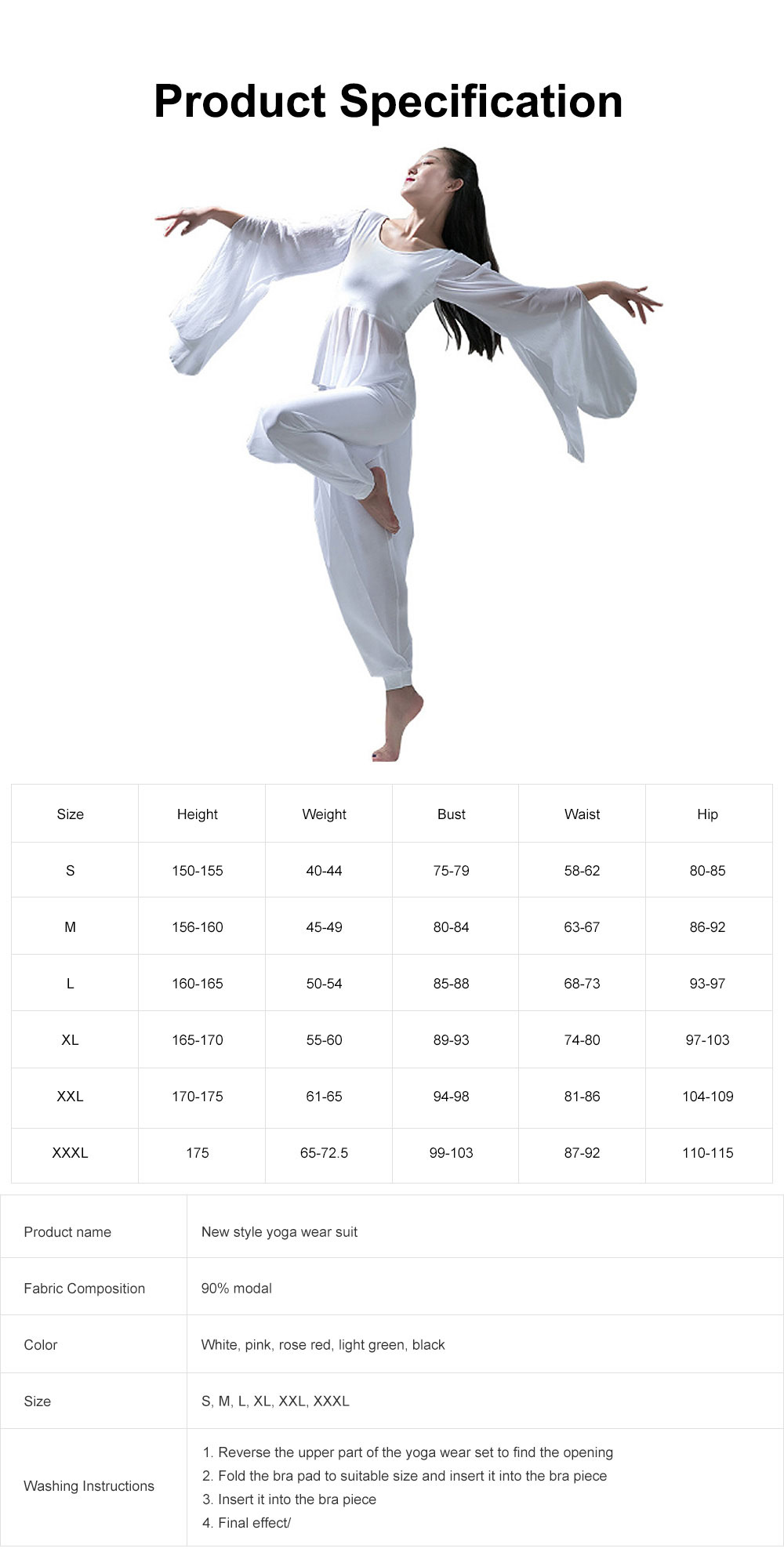 Yoga Dress Suit White Dancing Wear with Long Sleeves, Women Elegant Slim-fitting Performance Wear, Formal Dancing Dress Suit 8