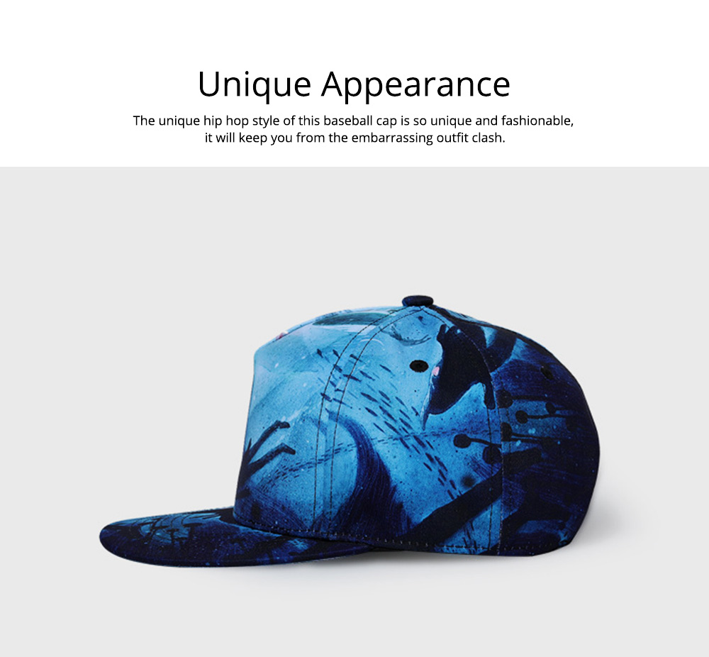 2019 Latest Baseball Cap for Men and Women, Neuter 3D Printing Style Outdoor Fashionable Hip Hop Cap Breathable 4