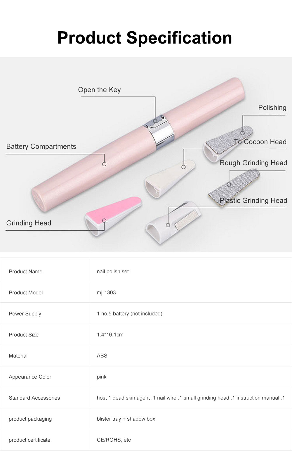 Small & Delicate Pen Type Multifunctional Nail Electric Manicure Set Used for Manicure Nails Polishing 6