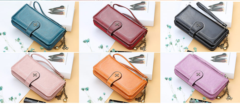 Baellerry PU Purse Fashion Classic Multifunctional Personality Wallet for Women Buckle Copper Zipper ID Card Phone Handbag With Chain 7
