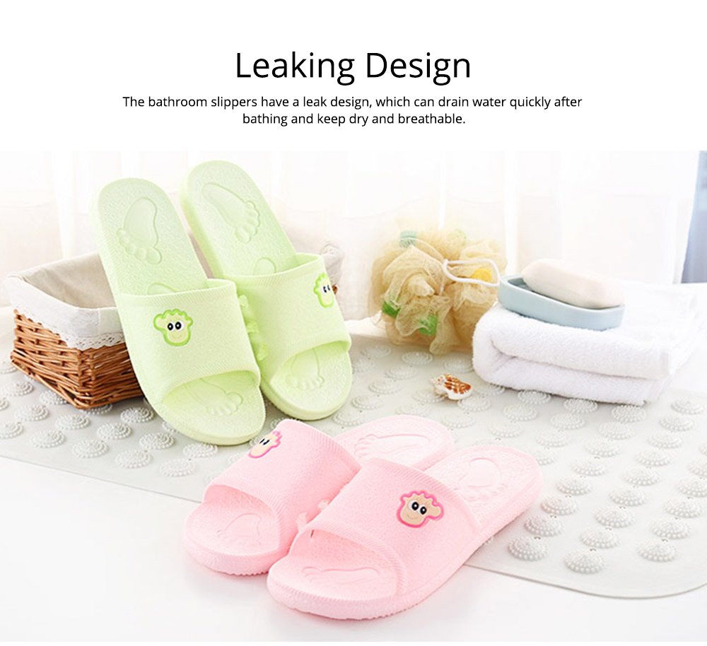 Non-slip Leaking Summer Cartoon Bath Shoes Bathroom Slippers Casual Household for Women and Men Couples 4
