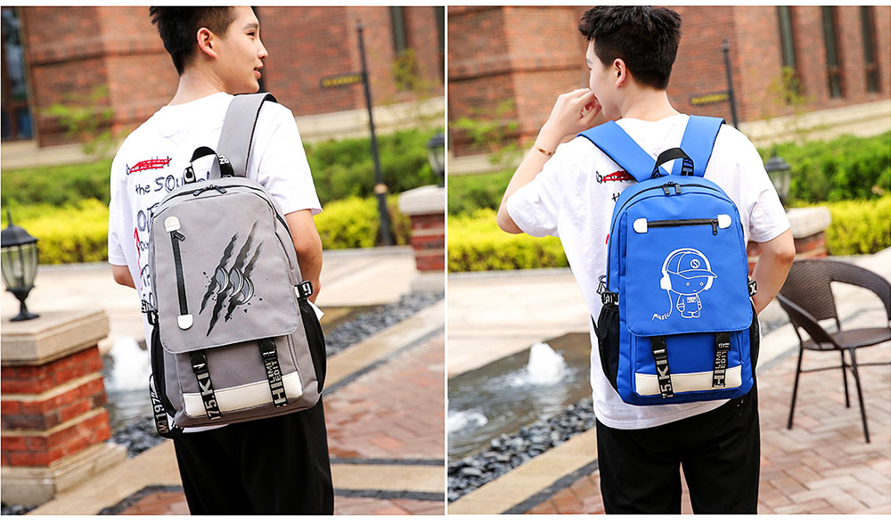 Stylish Luminous Carton Painting Casual Backpack, Soft Canvas Oxford Cloth Outdoors Student Shoulder Bag 13