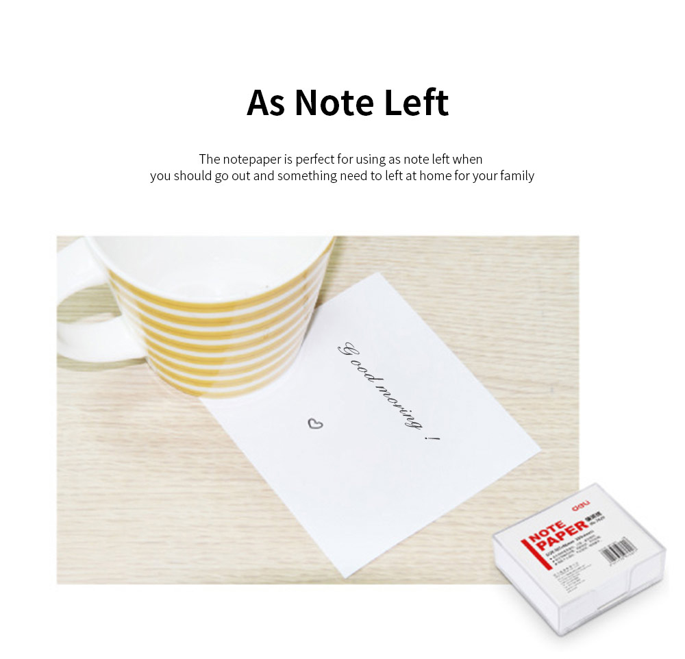 Blank Notepaper with Transparent Storage Box, All White Sticky Note for Students, Teachers, Office Home Use, 300 Sheets of Notepaper 107mm*96mm 4