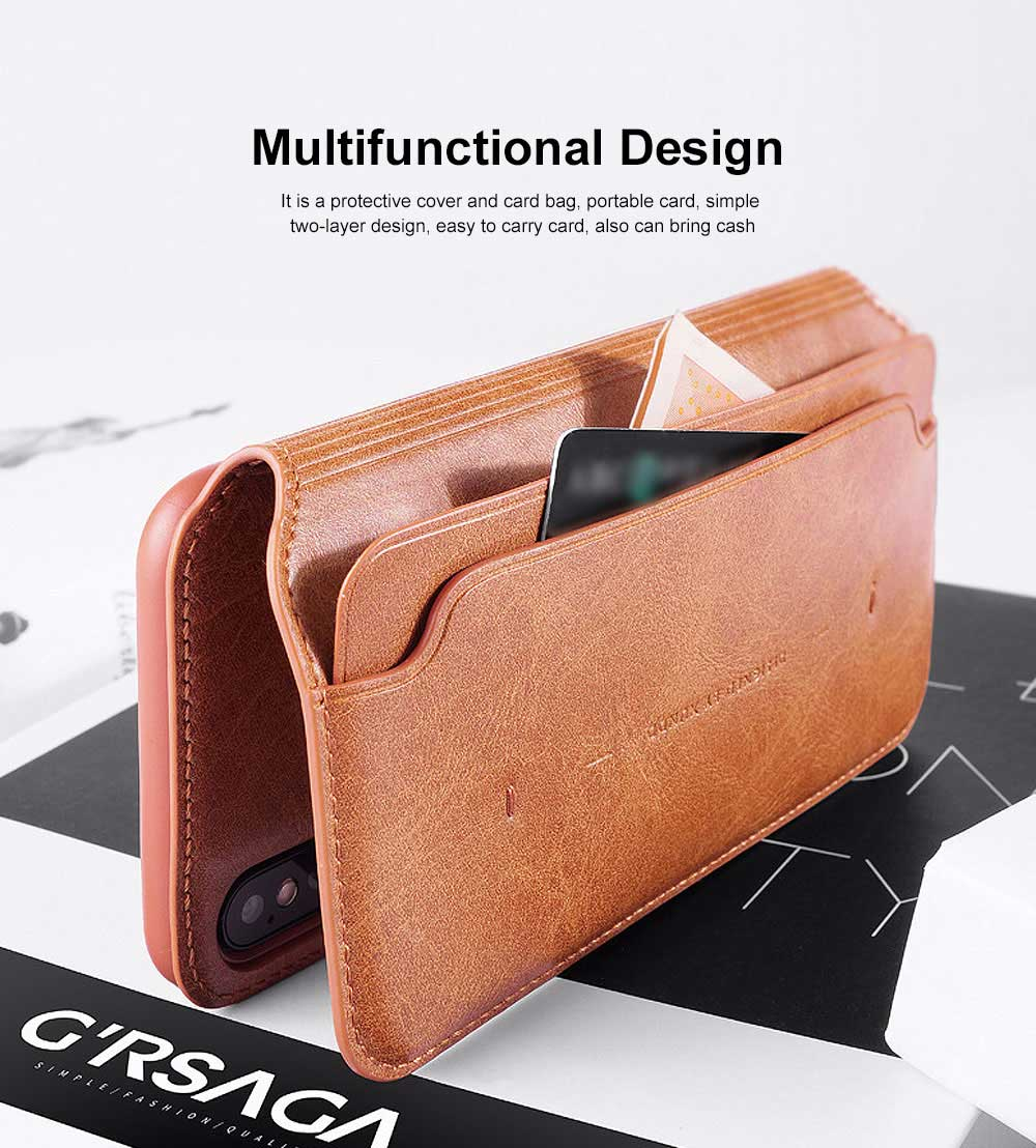 Ultra-soft Genuine Leather Crash-resistant Phone Case Pouch with Soft Shell Edge Designed with dormancy Function & Card Slot for iPhone 6.5 inch, 6.1 inch, 5.8 inch 4