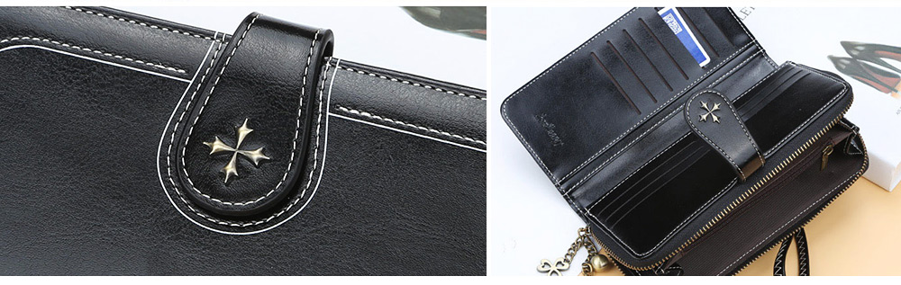 Baellerry PU Purse Fashion Classic Multifunctional Personality Wallet for Women Buckle Copper Zipper ID Card Phone Handbag With Chain 3