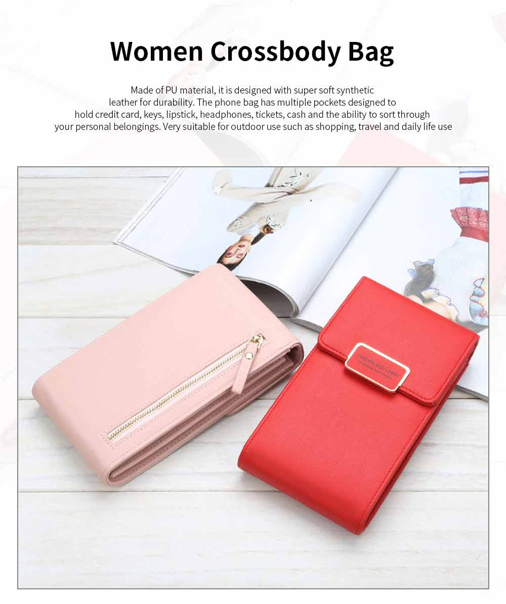 Women PU Leather Roomy Pocket Cell Phone Purse for Women, Functional Crossbody Bag 5 Colors Available for Ladies 0