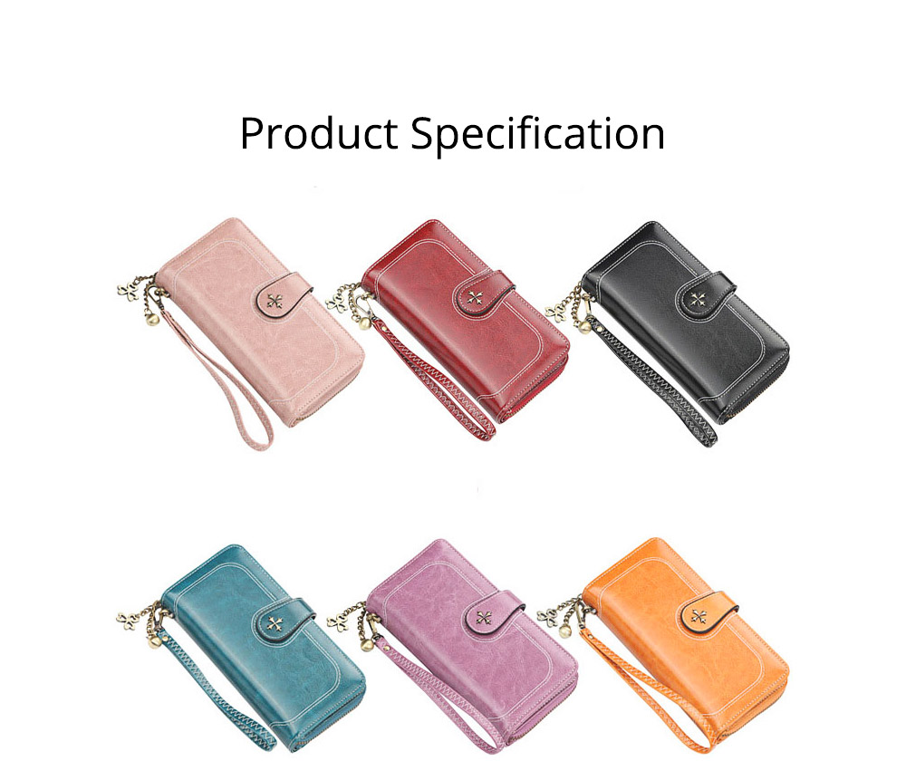 Baellerry PU Purse Fashion Classic Multifunctional Personality Wallet for Women Buckle Copper Zipper ID Card Phone Handbag With Chain 8