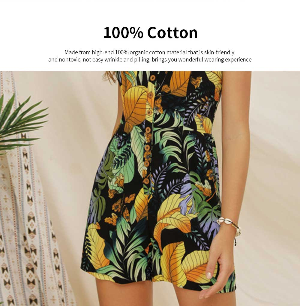 Women Leaf Printed Rompers with Single-breasted, Summer Lady Floral Printed Jumpsuit for Beach, Holiday, Traveling Sexy Jumpsuit Romper S, M, L, XL, XXL 1
