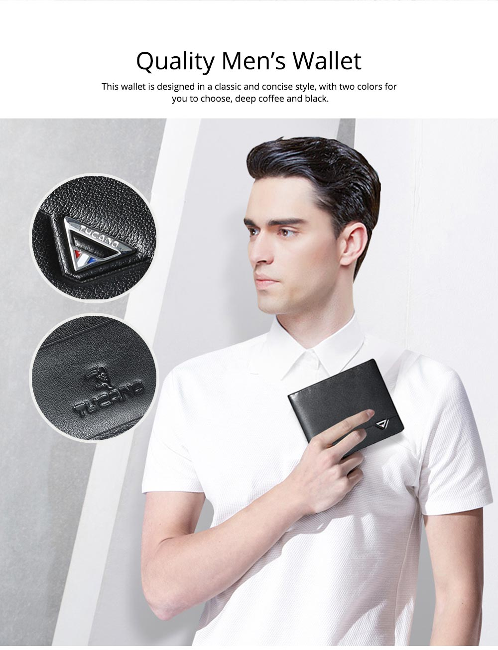 2019 Latest TUCANO Short Style Billfold for Young Men, Fashionable Genuine Leather Material Horizontal Wallet for Male 1