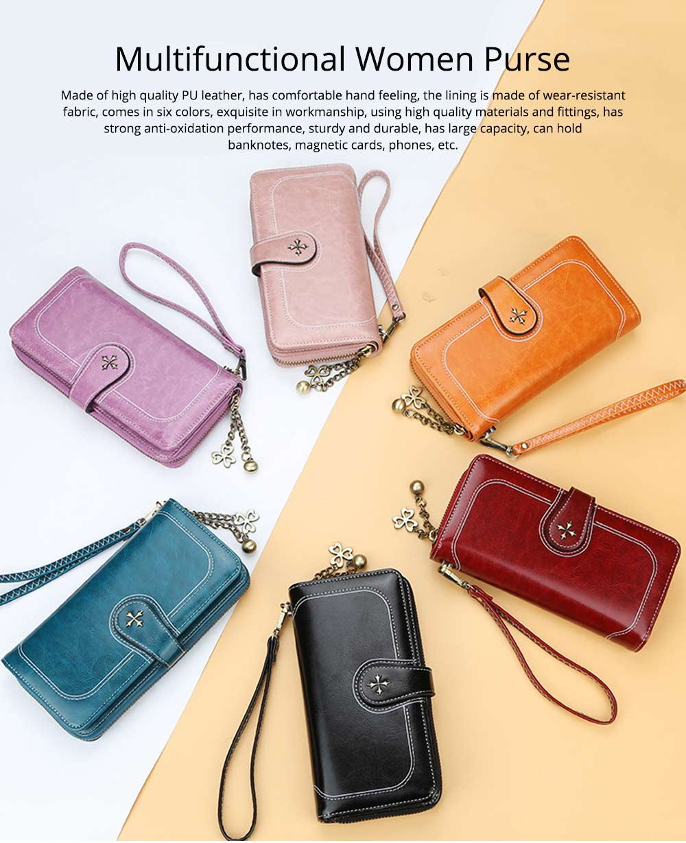 Baellerry PU Purse Fashion Classic Multifunctional Personality Wallet for Women Buckle Copper Zipper ID Card Phone Handbag With Chain 0