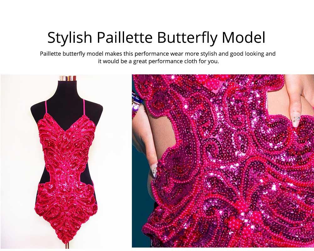 Sexy Stylish Shiny Paillette Butterfly Model Performance Wear, Soft Mesh Polyester Lace-up Backless Party Wear 4