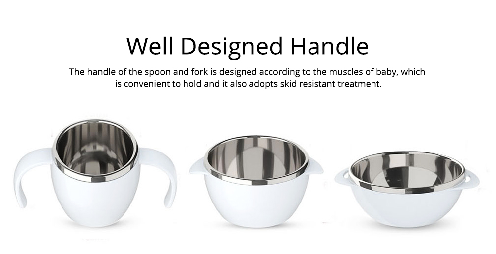 Lovely Cartoon 304 Stainless Steel Tableware for Kids, 5 in 1 Portable Cute Superior Food safe Material Spoon, Fork and Bowl 5