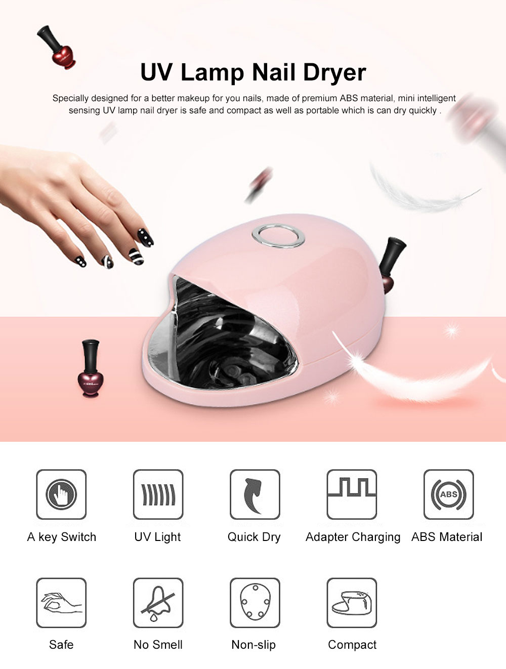 Intelligent Sensing UV Lamp Nail Dryer with Non- slip Design & Fast Drying Function Design 0