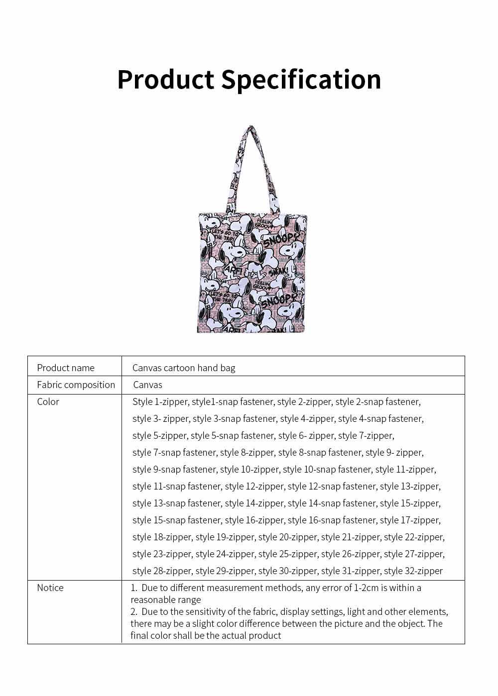 Canvas Cartoon Hand Bag Shoulder Bag, Environmental Protection Shopping Bag, Single-shoulder Bag with Lovely Cartoon Image 6