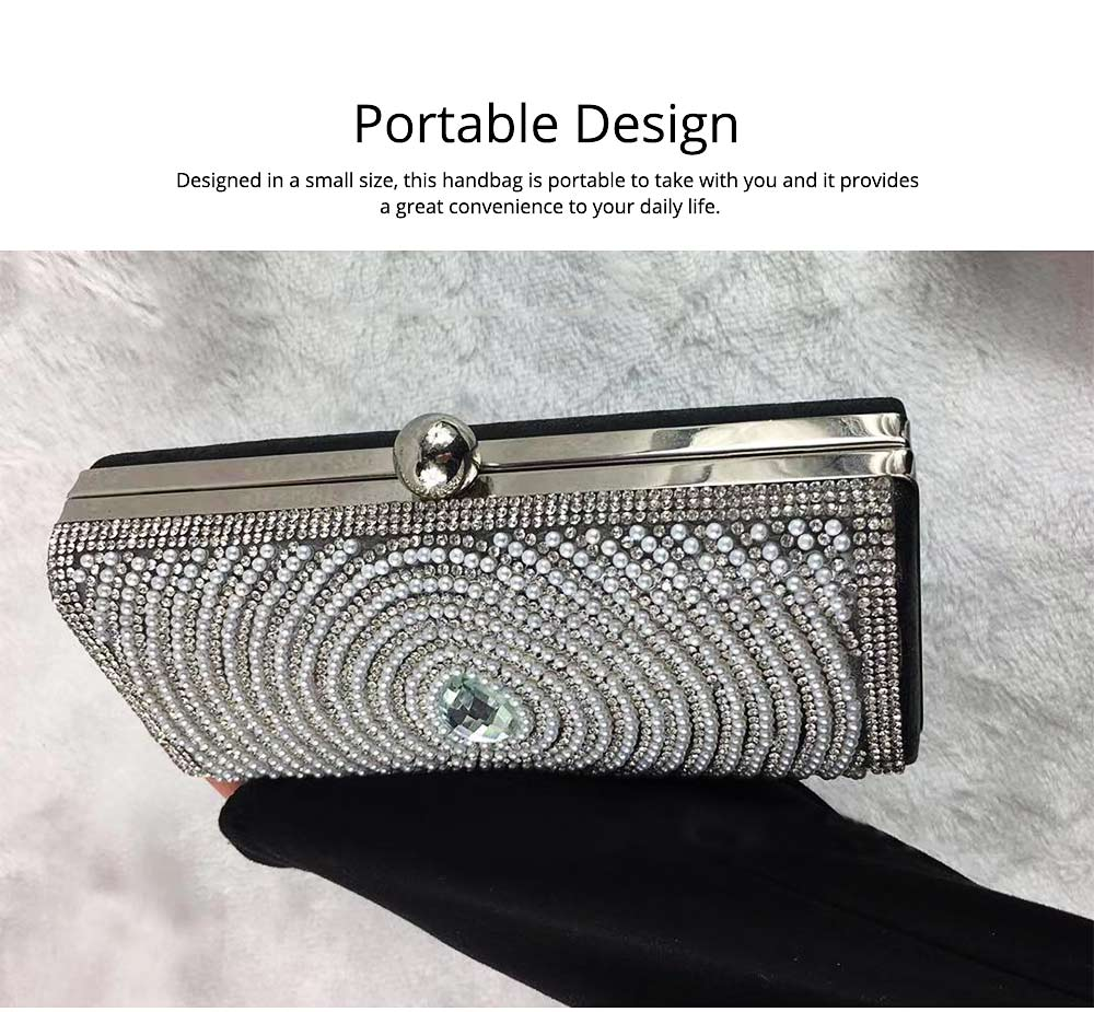 2019 Clutch Bags for Women Elegant Evening Handbag with Crystal and Pearl Decoration, Fashionable Easy Matching Clutch for Dinner Parties 1