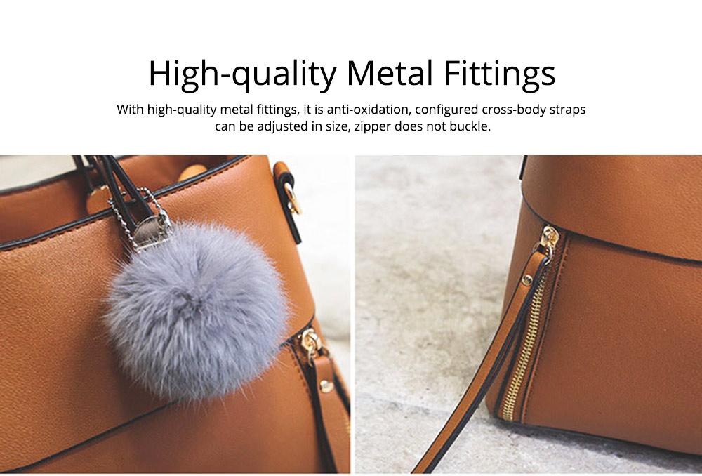 Lady Handbag PU Fashion Simple Hand Big Bag Shoulder Messenger For Women Middle-aged Mother 3